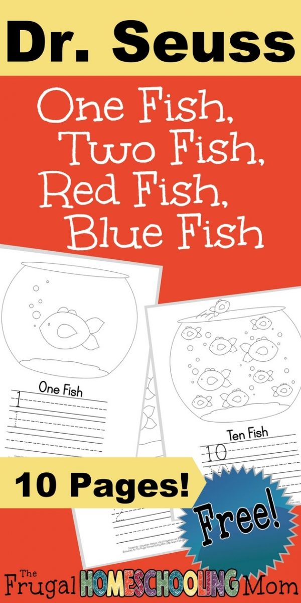 photo relating to One Fish Two Fish Printable named Dr. Seuss - 1 Fish, 2 Fish, Purple Fish, Blue Fish