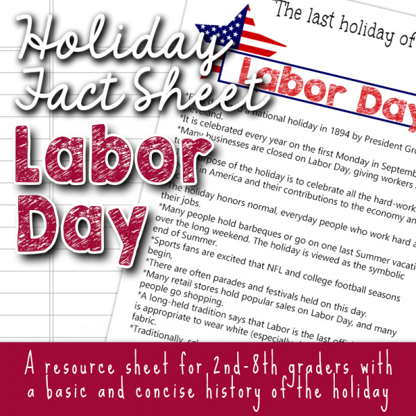 Labor Day Fact Sheets for kids copyright TFHSM s