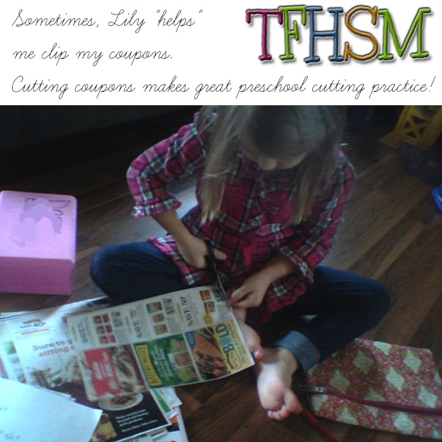 Clipping coupons makes great preschool hands on cutting practice
