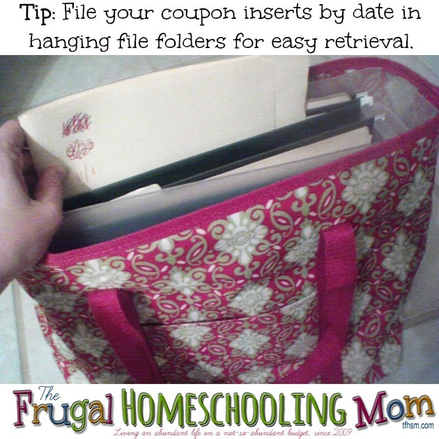 easy method for coupon insert storage and filing