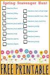 Free EASY Spring Scavenger Hunt Printable for Homeschool Kids