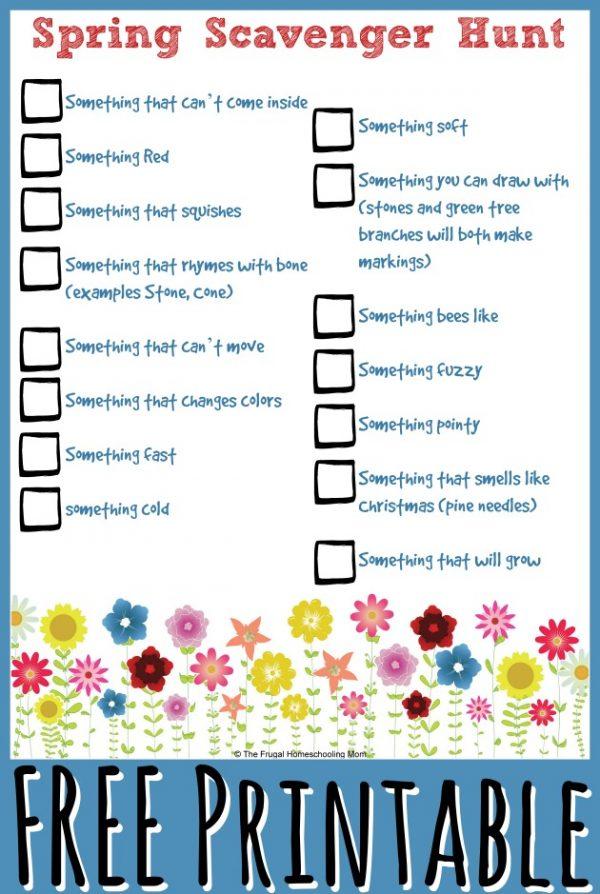 Free Advanced Spring Scavenger Hunt Printable for Homeschool Kids