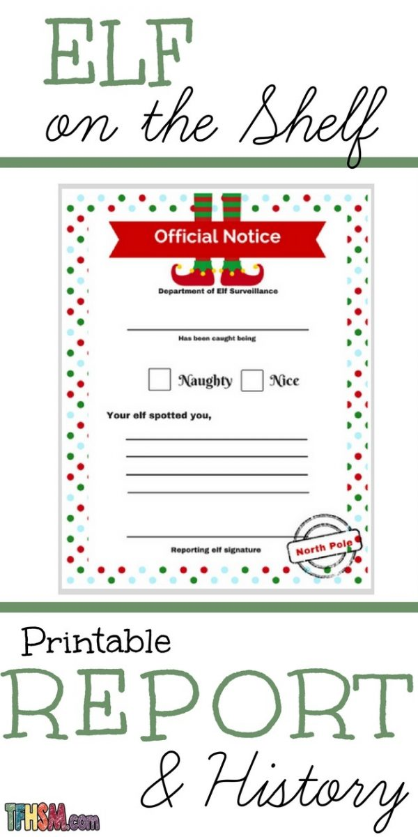 Free Elf on the Shelf Story History and Printable Behavior Report