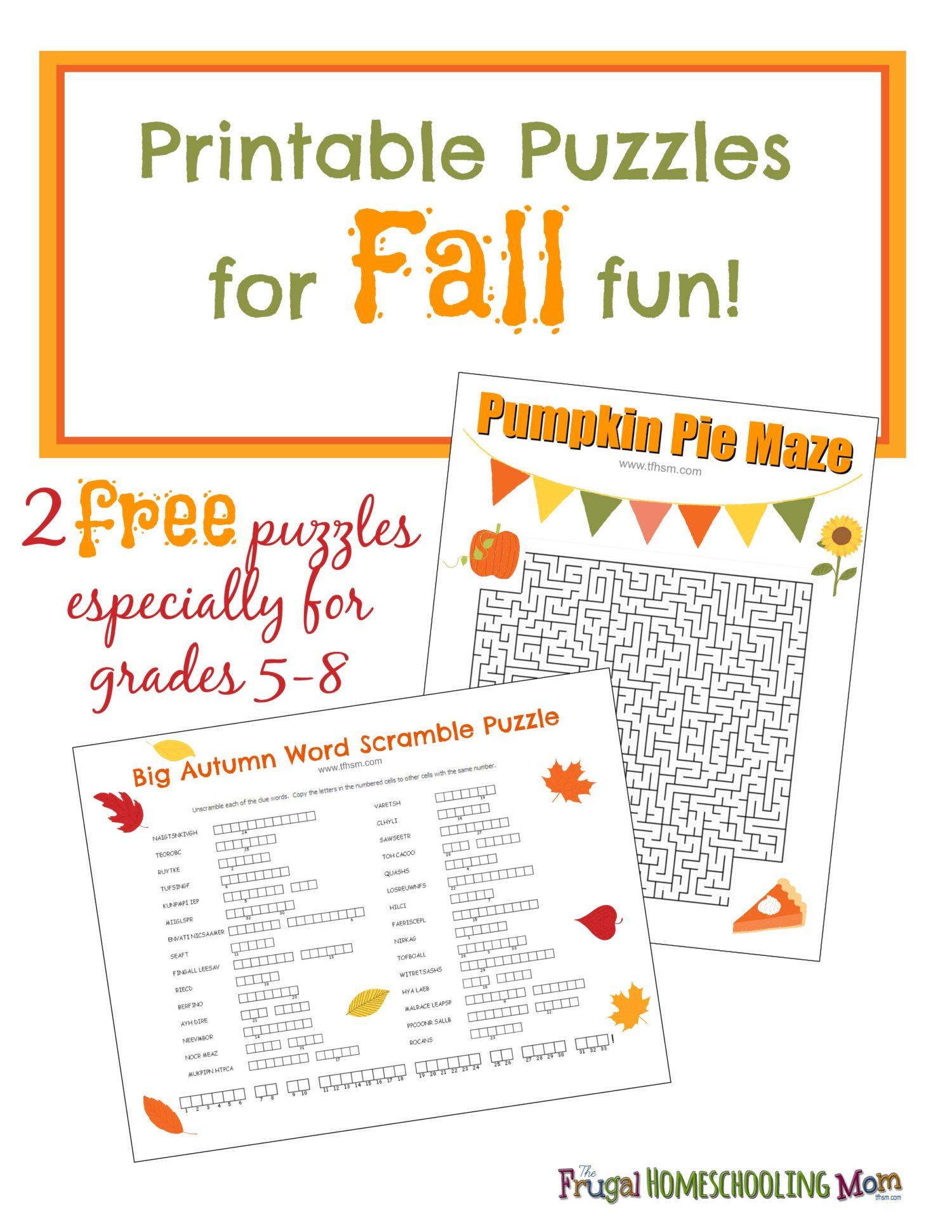 free fall printable puzzles – the frugal homeschooling mom aka tfhsm