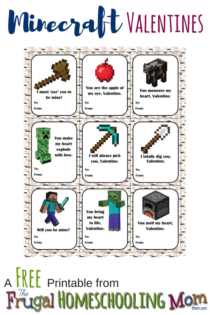 Free homeschool printable Minecraft Valentines The Frugal Homeschooling Mom TFHSM