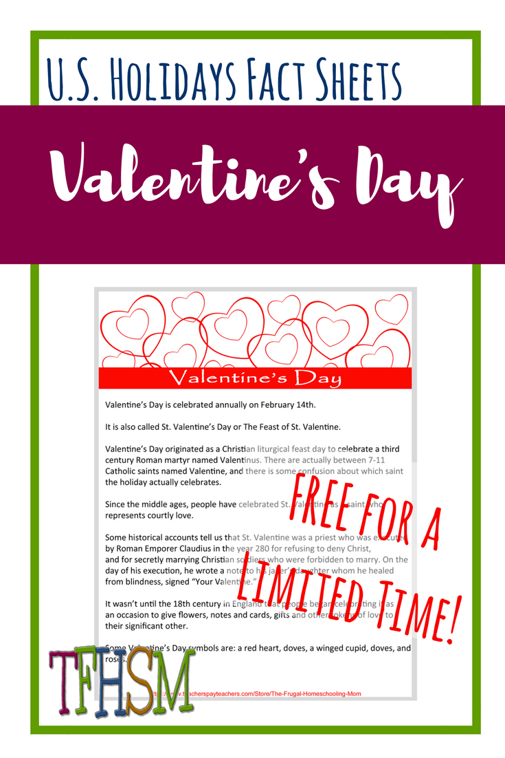 Free homeschool printables copywork lapbooking for St. Valentine's Day