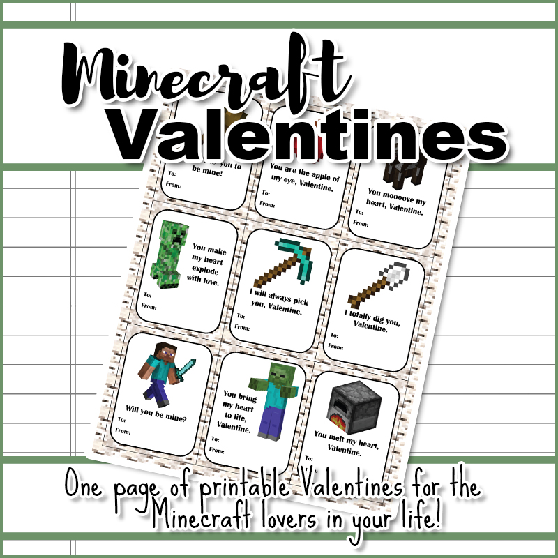 Minecraft Valentines - Copyright The Frugal Homeschooling Mom