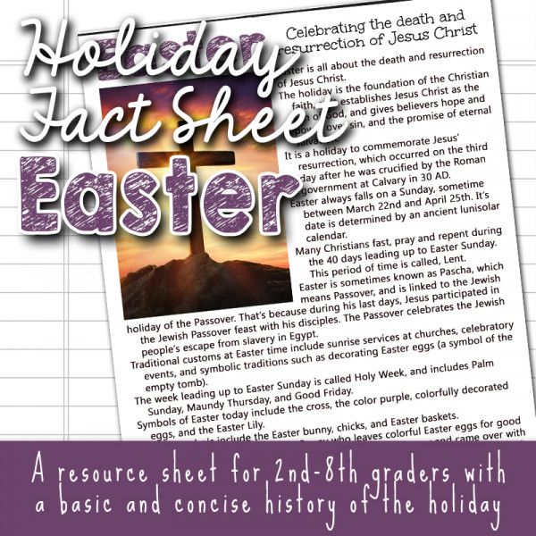 The Story of Easter Fact Sheets for kids copyright TFHSM