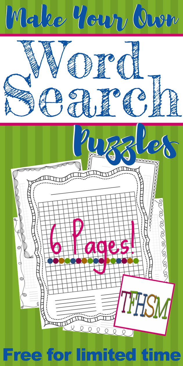 Make Your Own Wordsearch Free Frugal Homeschool Printable
