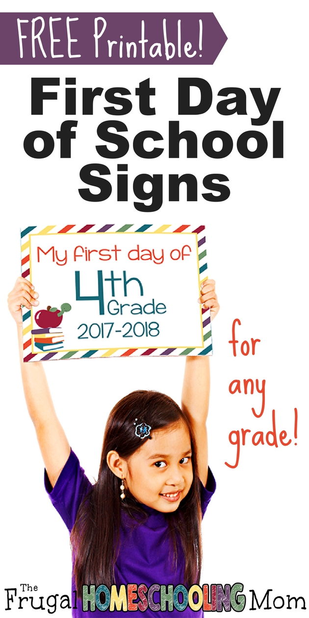 FREE Printable First Day Back to Homeschool Photo Prop Signs Bright and Colorful - The Frugal Homeschooling Mom