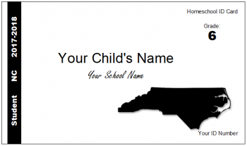 NC homeschool Identification ID card child homeschool id cards