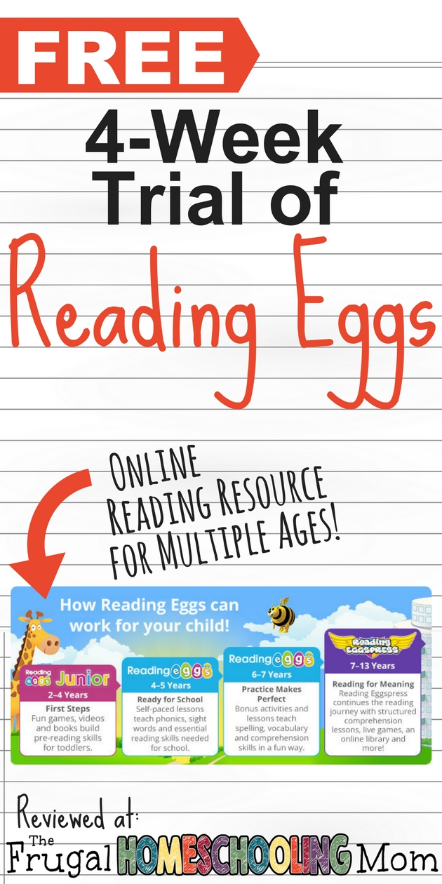 Free 4 week trial of Reading Eggs Online Homeschool Reading Curriculum for multiple ages - The Frugal Homeschooling Mom
