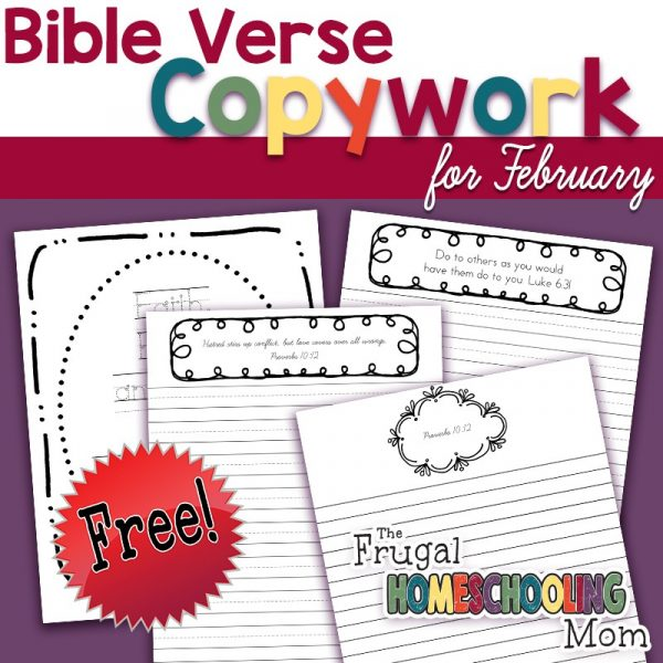 Free Bible Verse Copywork Pages for February Love by TFHSM s