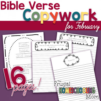 "Valentine's Day scripture copywork pages: ""Love"" - Themed"