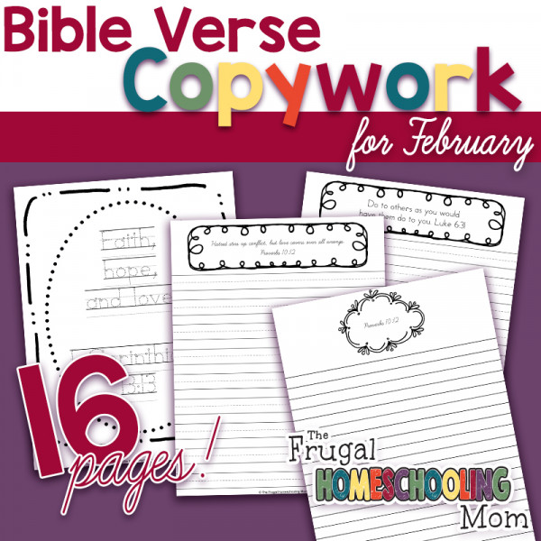 """Valentine's Day scripture copywork pages: """"Love"""" - Themed"""