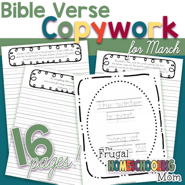 Spring Bible Verses Copywork Pages for March by TFHSM