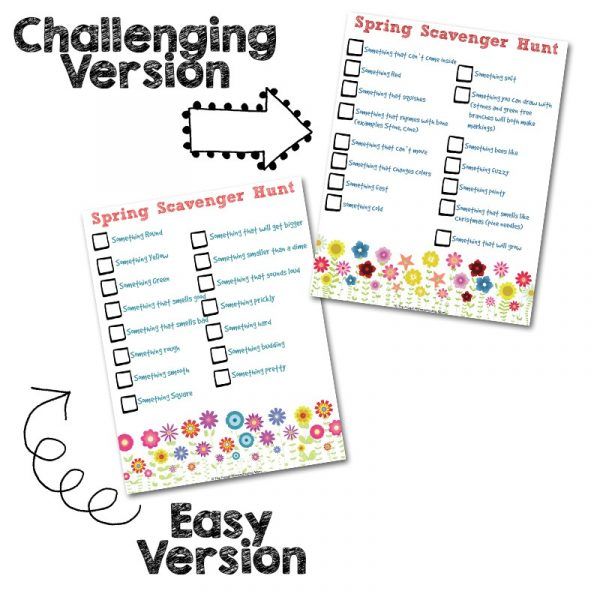 Free Spring Scavenger Hunt Printable for Kids - Easy + Difficult Versions