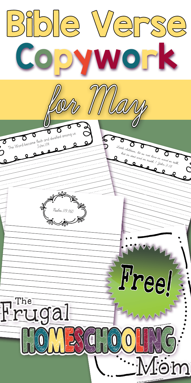 Free Bible Verse Copywork Pages for May Truth by TFHSM p