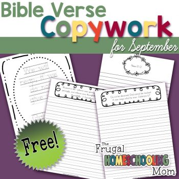 Free Bible Verse Copywork Pages for September Reaping Harvesting by TFHSM s