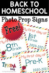 FREE Prop Signs for Homeschool Back-to-School Photos