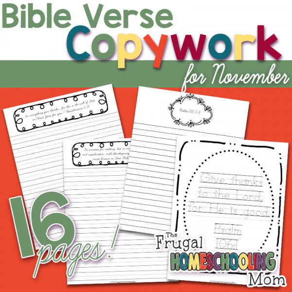 Thanksgiving Scripture Copywork Pages: Gratitude and Thankfulness