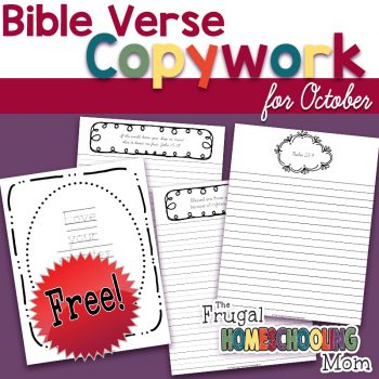 FREE Bible verse copywork pages for October