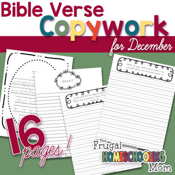 Bible Verse Copywork Pages for December BIrth of Christ by TFHSM