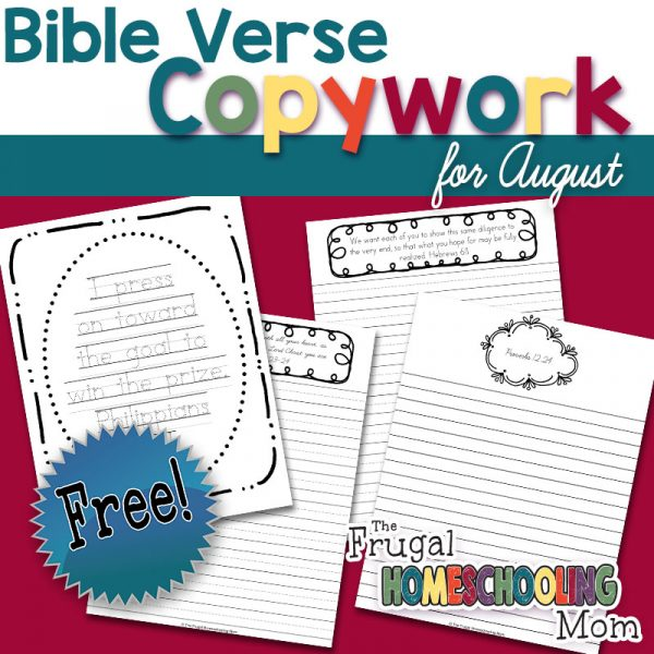 Free Bible Verse Copywork Pages for August: Diligence