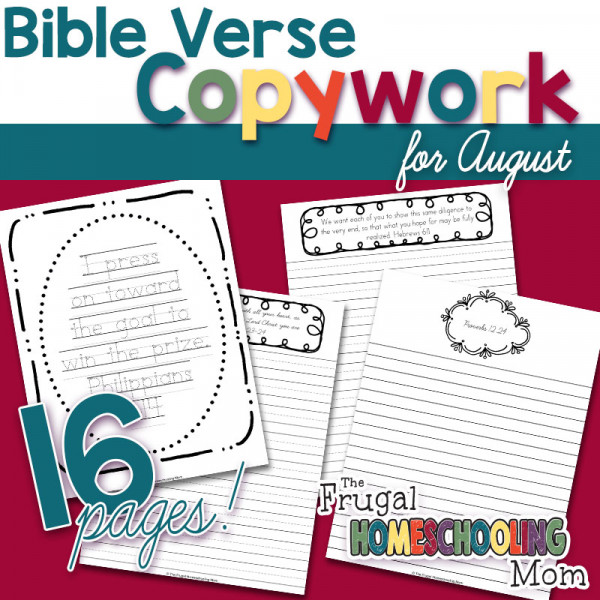 Bible Verse Copywork Pages for August Diligence by TFHSM