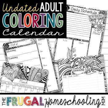 Planner for Homeschool with Adult Coloring Pages