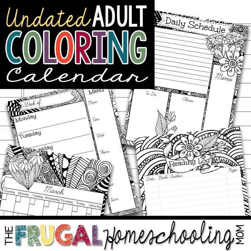 FREE Printable Planner For Homeschool With Adult Coloring Pages