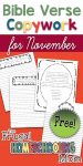 Free Bible Verse Copywork Pages for November Gratitude Thankfulness by TFHSM p