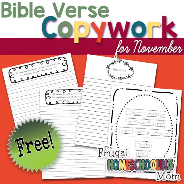 Free Bible Verse Copywork Pages for November Gratitude Thankfulness by TFHSM s1