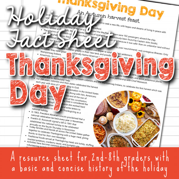 Thanksgiving Day Fact Sheets for kids with Christian worldview