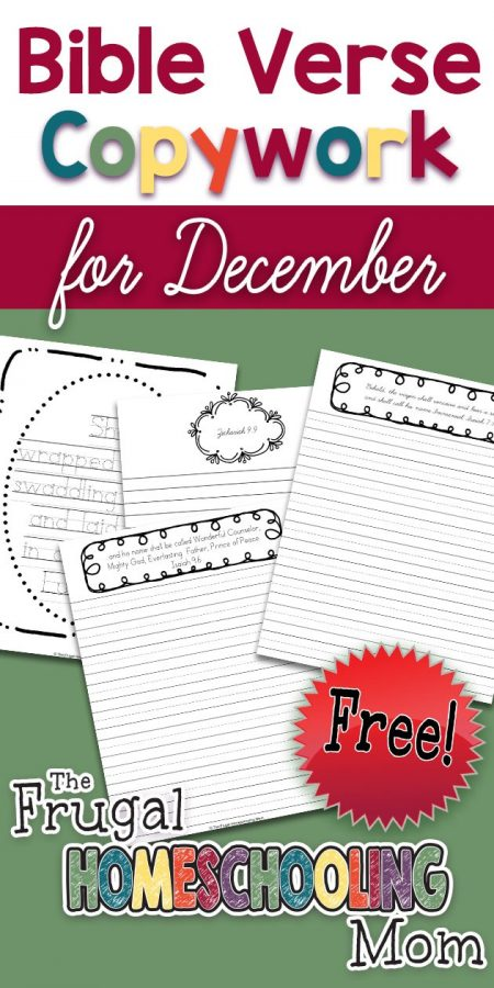Free Bible Verse Copywork Pages for December BIrth of Christ by TFHSM p