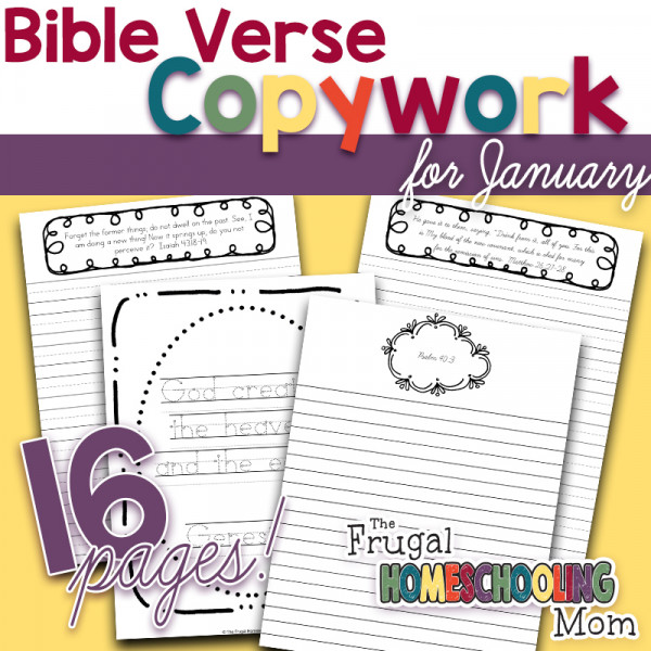 Bible Verse Copywork Pages for January New Beginnings by TFHSM