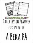Free A Beka K4 Lesson Plans: A Homeschooling Outline