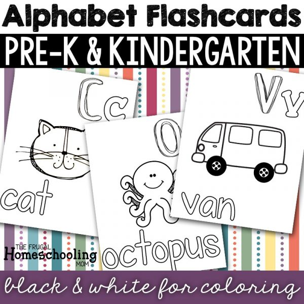 free printable alphabet flashcards to color black and white blackline