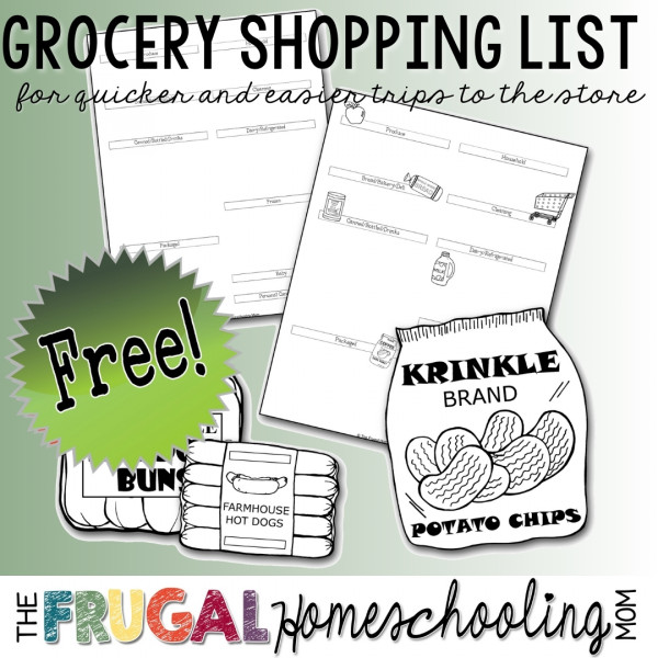 free printable grocery list maker organized by aisle or store section