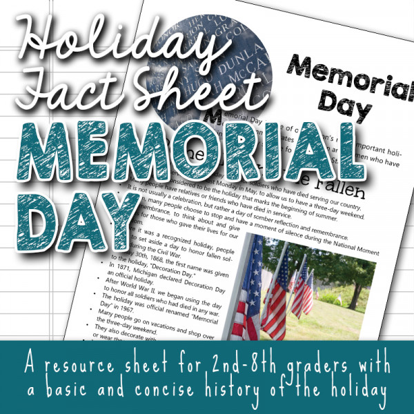 Holiday Fact Sheet for Kids - Memorial Day