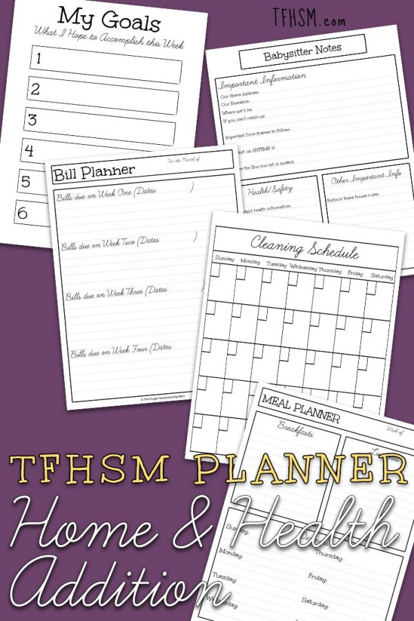 Home Management and Health Tracking Planner for Homeschool Moms