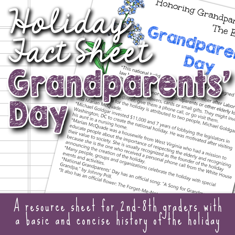 Grandparents' Day Free Printable Fact Sheets