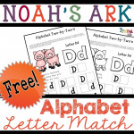 Noah's Ark Alphabet Lesson for Preschool: 2-by-2 Letter Matching