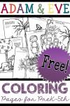 Free Preschool Bible Characters Adam and Eve Coloring Book Pages