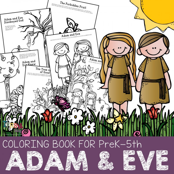 Preschool Bible Characters Adam and Eve Coloring Book Pages