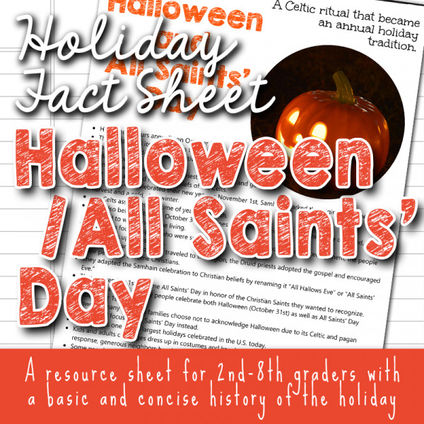 Halloween and All Saints Day Fact Sheets for kids copyright TFHSM